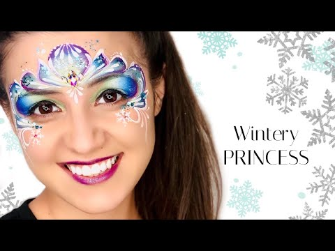 ONE STROKE Winter Princess Face Paint Tutorial (Elsa Face Paint)