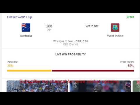 West Indies vs Australia live streaming ICC world cup 2019 06-Jun