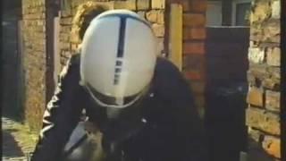 Actress Tina Hobley In Crash Helmet