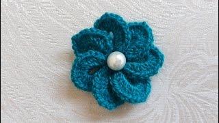 سمسم (20) كروشيه وردة بغرزة التمساح How to crochet a crocodile stitch flower