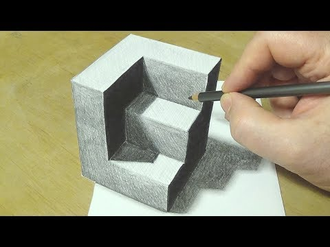 How to Draw Truncated Cube #2 - Drawing 3D Carved Cube - Vamos
