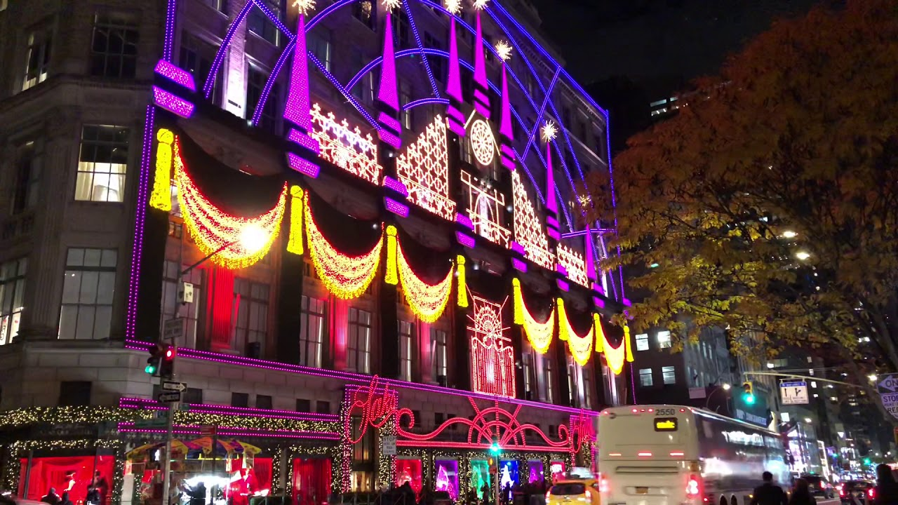 Saks Fifth Avenue Light Show 2019 Schedule New York Christmas light show 2018 Saks 5th Avenue   YouTube