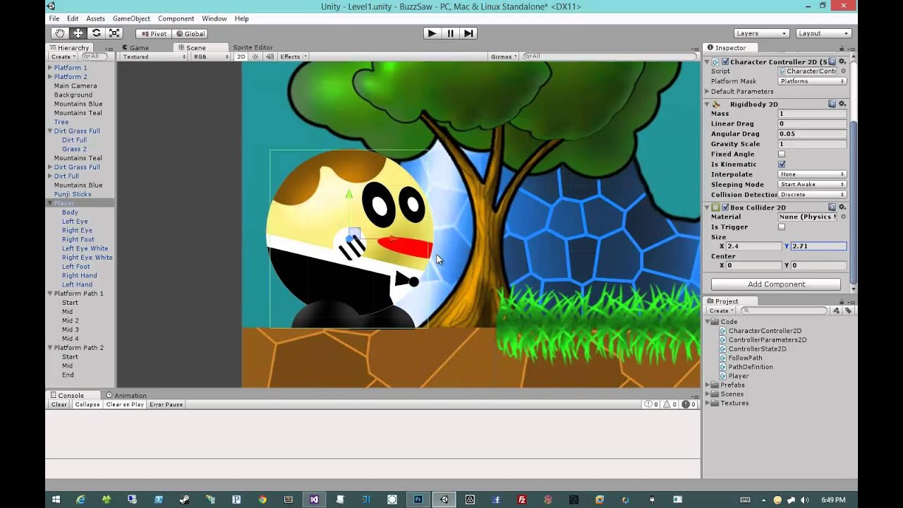 Creating 2D Games in Unity 4 5 #6 - Character Controller #2 - Getting our  Level Ready
