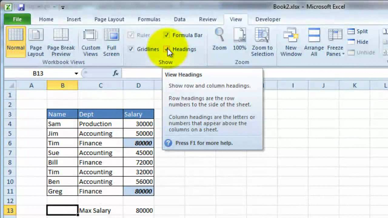 How to insert header and footer in Excel 2010