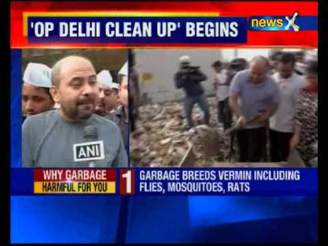 AAP leaders launch cleanliness drive, clean Delhi streets