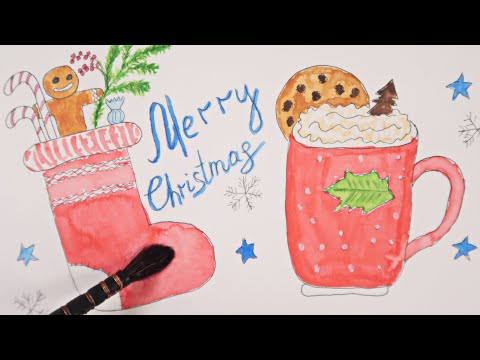 How to Paint Sketch Christmas Time by Watercolor/Chill Music /Relaxing Satisfying Painting ART Video