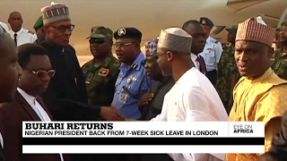 President Buhari returns to Nigeria after a 7 week sick leave in London