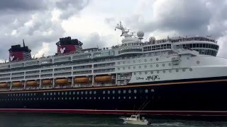 Disney Magic - Leaving port canaveral Florida and sounding horn April 19 2015