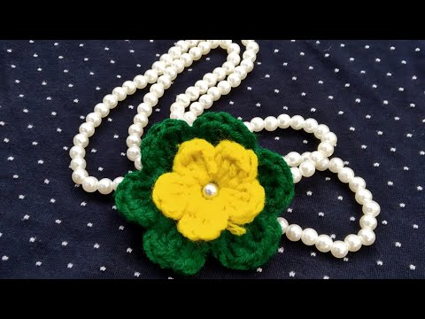 Hand made jewellery/  DIY Necklace /crochet flower pearl  necklace/jewellery /কুরুশের কাজ