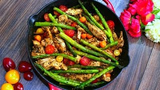 One Pan Pesto Chicken And Asparagus Recipe Healthy Chicken And Veggies