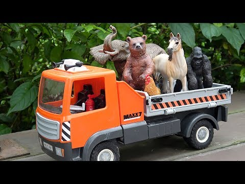 Learn Wild Animals in Trucks Toys For Kids | Animals Names and Sounds For Children