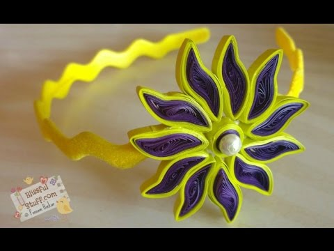 Diy how to make paper quilled hair band easy paper quilling diy how to make paper quilled hair band easy paper quilling flower tutorial mightylinksfo