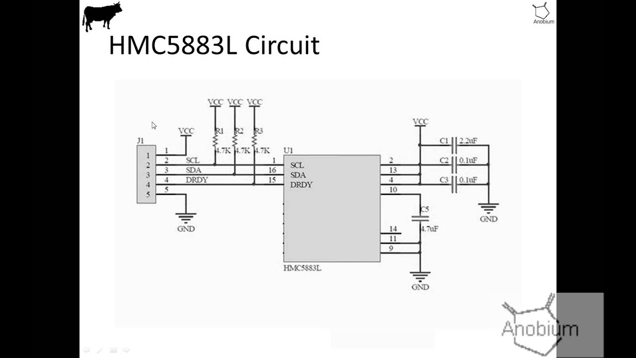 Demonstration Of The Gcb Hmc5833l 3 Axis Compass Sensor Interfacing Tripleaxis Accelerometer With Atmega 16 Circuit Diagram
