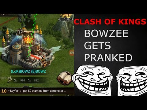 BOWZEE IS BURNING?? OR IS HE KING?? PRANK!!!!!!!! (CLASH OF KINGS FUNNY MOMENTS)