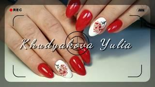 Рябина на ногтях /Зимний маникюр /Красные ноготки