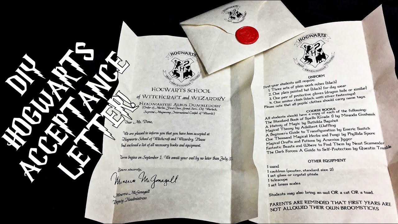 diy hogwarts acceptance letter harry potter