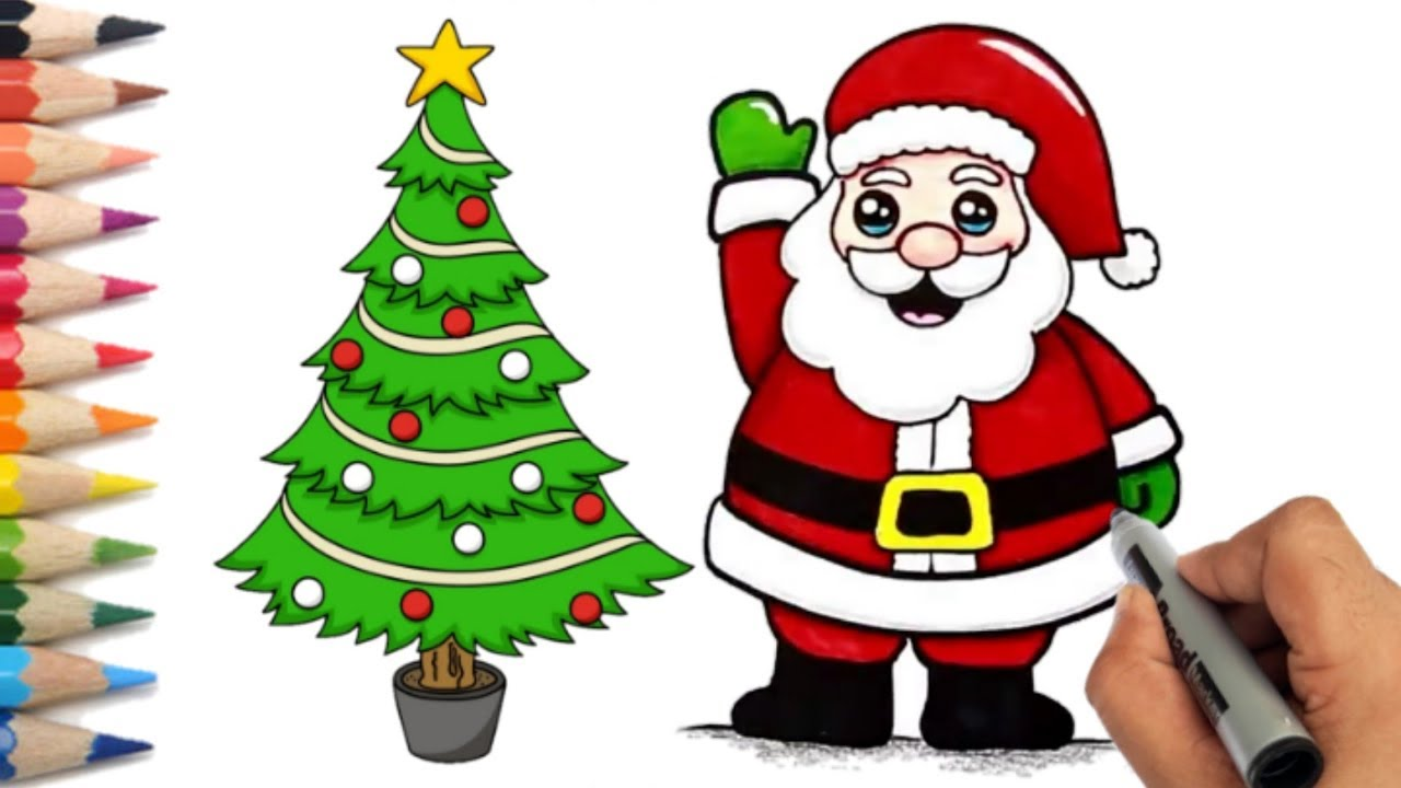 how to draw easy santa claus and christmas tree step by step kids christmas drawing youtube how to draw easy santa claus and christmas tree step by step kids christmas drawing