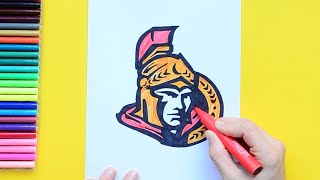 How to draw and color the Ottawa Senators Logo - NHL Team Series