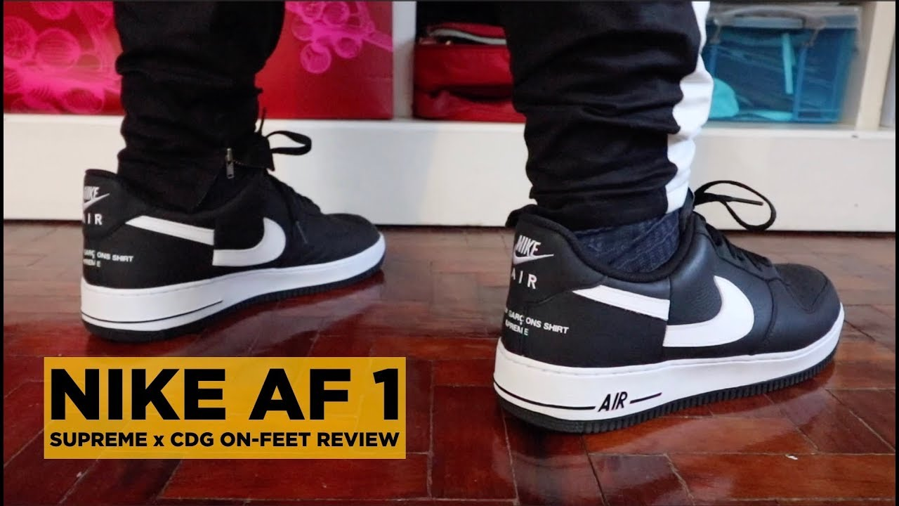 SILENT FIRE!!! NIKE AIR FORCE 1 x SUPREME x CDG REVIEW!!!