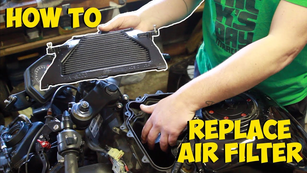hight resolution of how to check clean or replace air filter on a 2005 honda cbr600rr