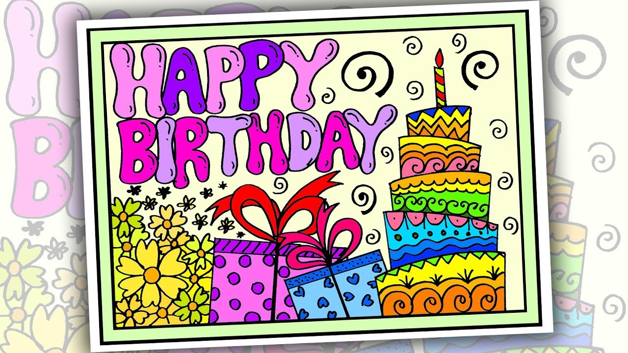 How To Draw Happy Birthday Poster Drawing Easy Youtube