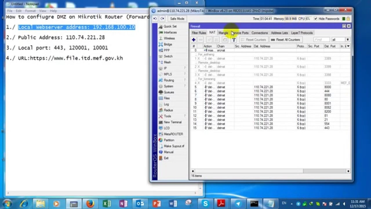 Mikrotik port forwarding dmz on mikrotik router how to configure port forwarding on mikrotik - Private internet access port ...