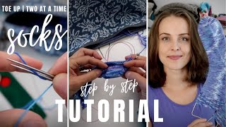 How to knit socks - toe up - two at a time - magic loop ❤︎ step by step tutorial ❤︎ knitting ILove