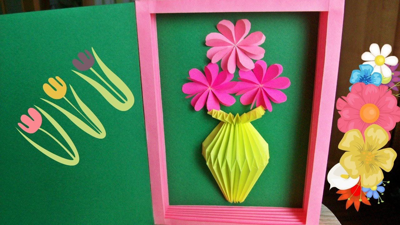 Handmade Greeting Card With Paper Vase For Birthday Mothers Day Gifts Latest Desing Crafts