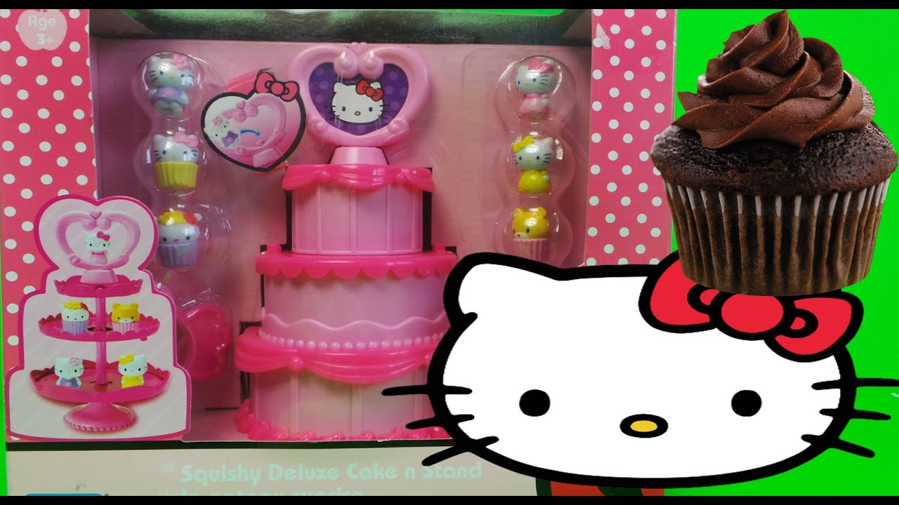 HELLO KITTY SQUISHY DELUXE CAKE N STAND TOY SET UNBOXING LE GATEAU