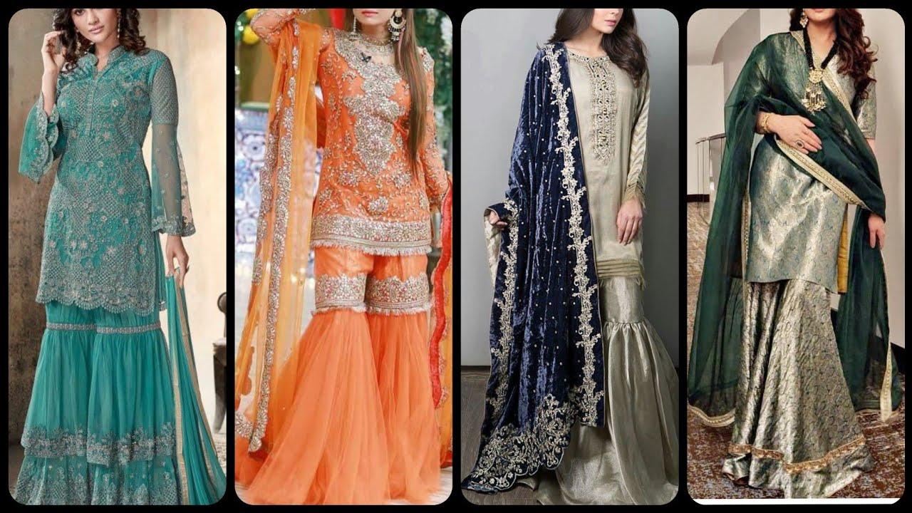 Beautiful And Stylish Fancy Gharara Kurti Design For Girls And Women For Wedding