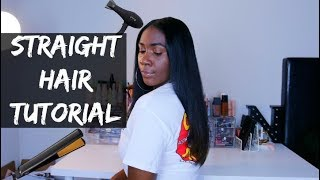 Straightening My Natural Hair After 10 Months Curly NO HEAT DAMAGE