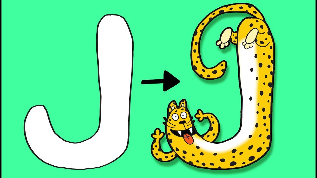 J For Jaguar Learn To Draw Abc The Alphabet Kids