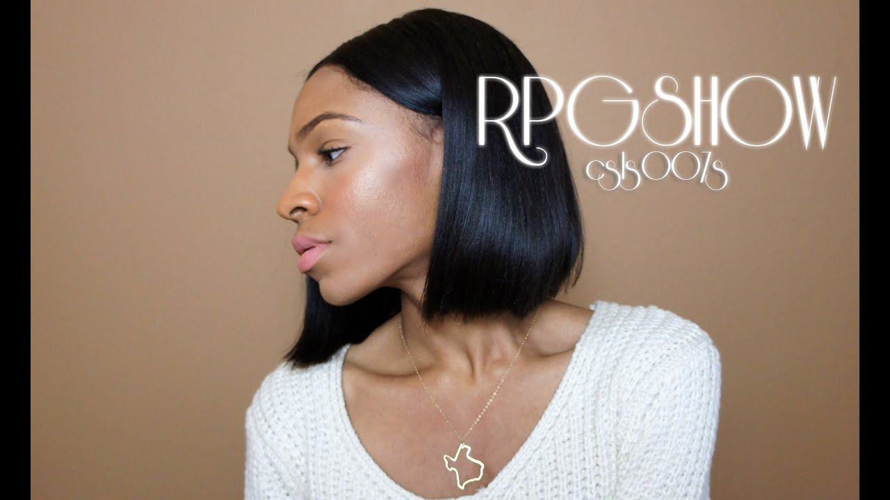 Long straight black hair middle part