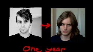 Guy Growing long hair- one year