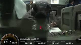新幹線車窓 by アクションカム(高画質版) こだま741号(新大阪→博多南、エヴァンゲリオン新幹線、500 TYPE EVA車両下り列車)