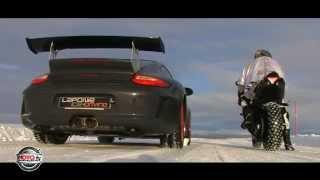 Yamaha vs Porsche en la nieve
