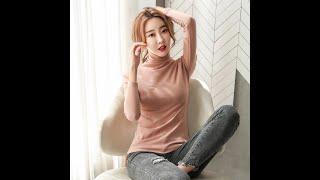 터틀넥 스판 겨울 슬림핏 여성 긴팔 티셔츠