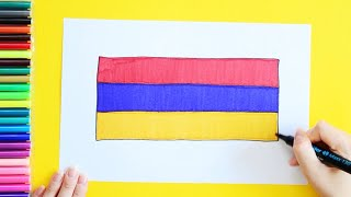How to draw and color National Flag of Armenia