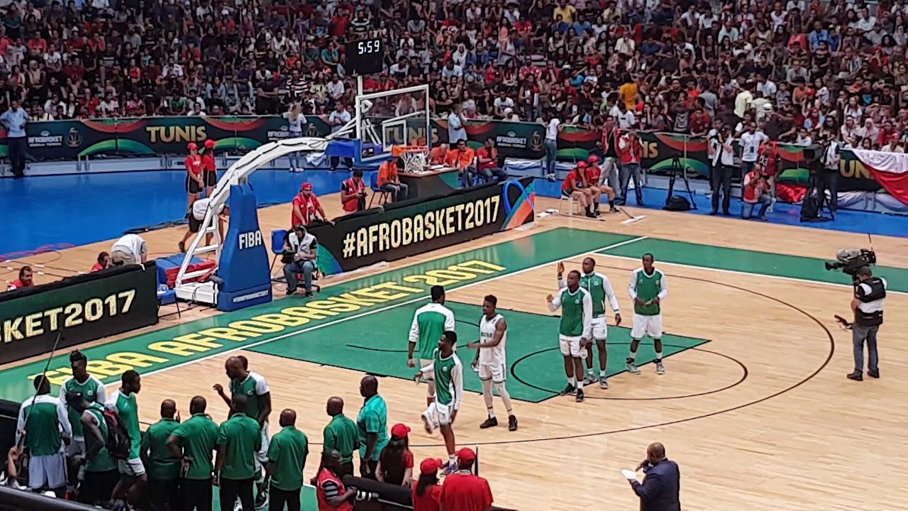 Les Hymnes Nationaux Avant La Finale Tunisie Nigeria Afrobasket