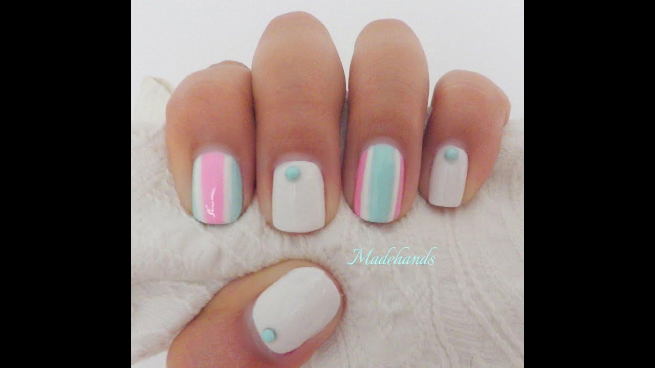 Diseño de uñas fácil: rayas en colores pasteles/ Nails designs for ...
