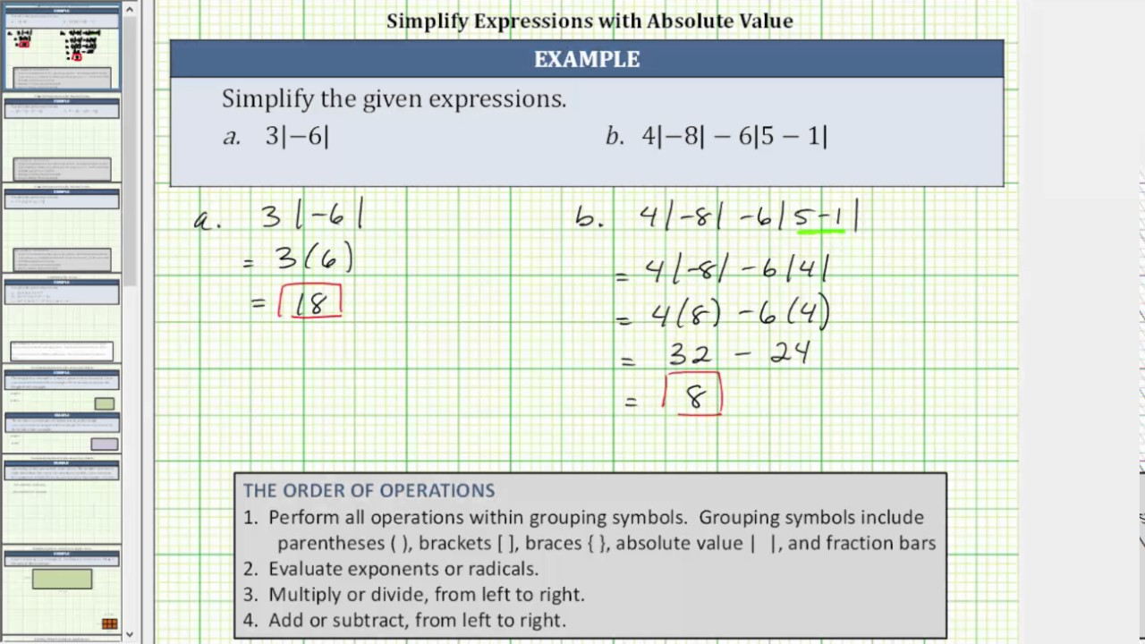 Simplify absolute value expressions youtube simplify absolute value expressions biocorpaavc Choice Image
