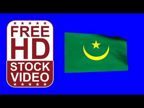 FREE HD video backgrounds – Mauritania flag waving on blue screen 3D animation