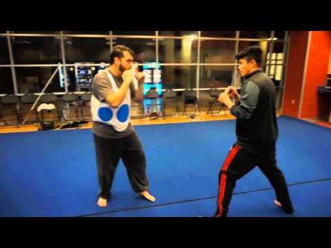 Kungfu repulse punching and knee strike.