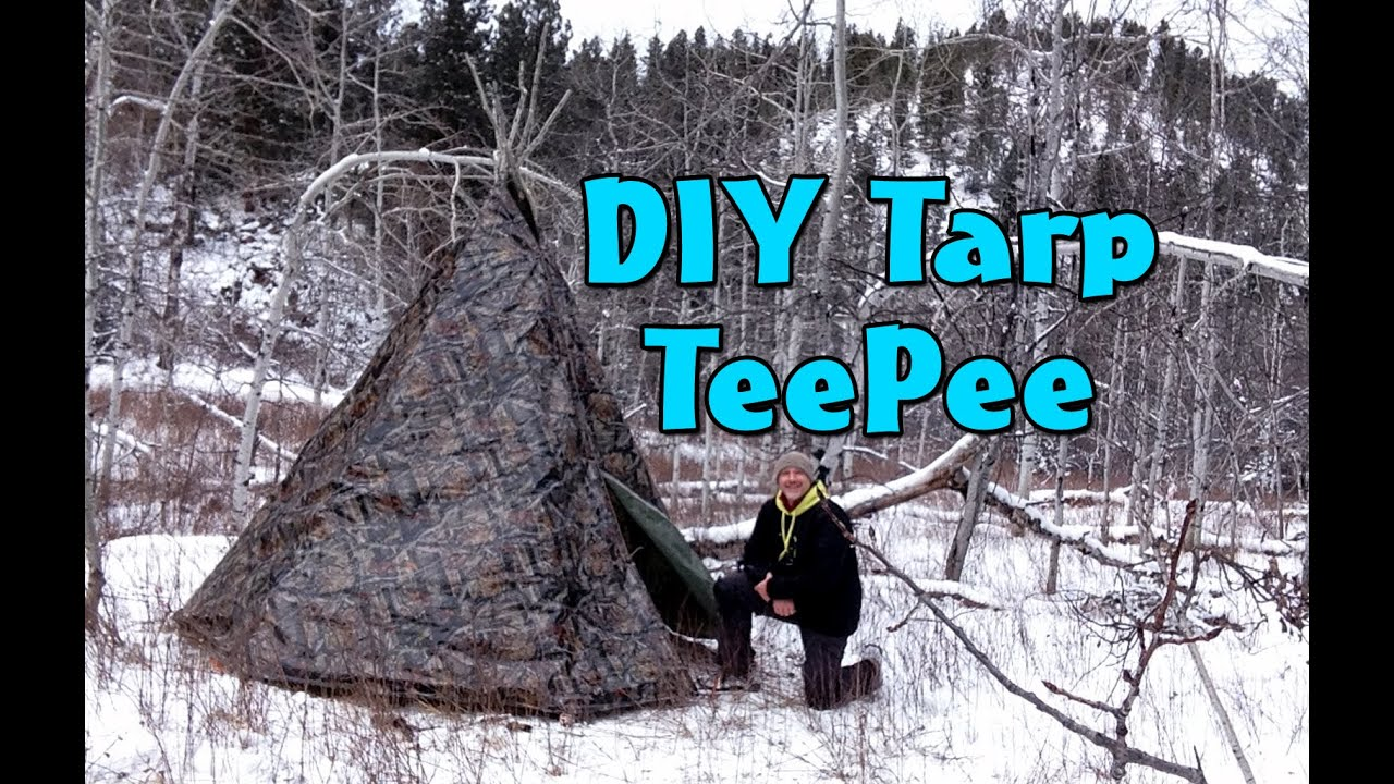 how to make a diy tarp teepee teepee winter campout part 1 youtube. Black Bedroom Furniture Sets. Home Design Ideas