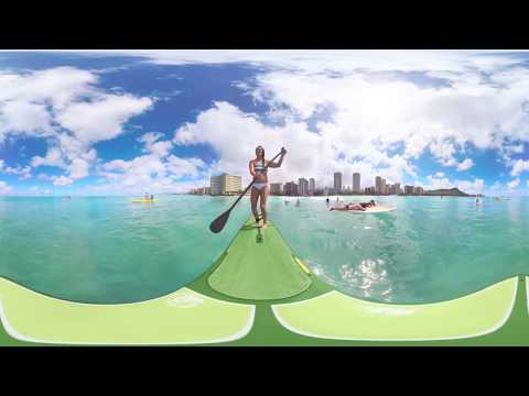Stand Up Paddleboard (SUP) Surfing on Oahu, Hawaii - 360 Video (#LetHawaiiHappen with WaikikiLove)