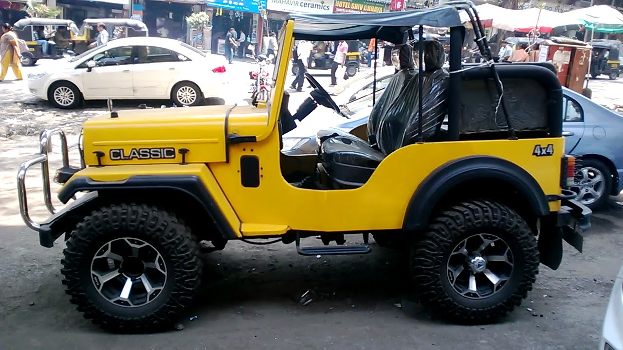 Amazing Mahindra Classic Jeep 4x4 Modified In Yellow Color
