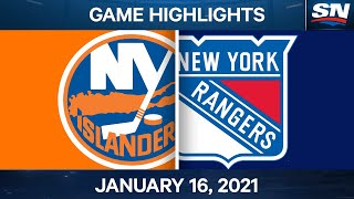 NHL Game Highlights | Islanders vs. Rangers - Jan. 16, 2021