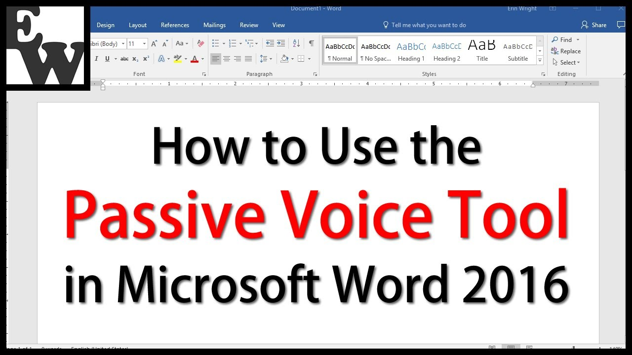 How to Use the Passive Voice Tool in Microsoft Word 2016