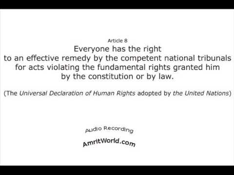 Legal Help Is A Right Itself (Article 8 of Universal Declaration of Human Rights)