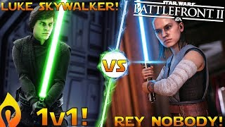 Luke vs Rey Gameplay! 1v1 Duel In Star Wars Battlefront 2!